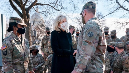 """I truly appreciate all that you do,"" the first lady said. ""The National Guard will always hold a special place in the heart of all the Bidens.""(AFP)"