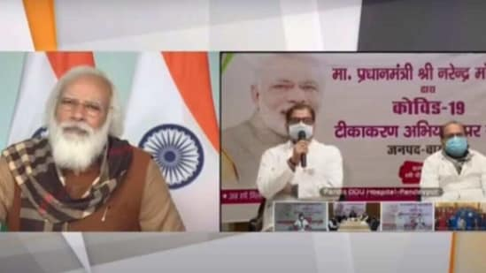 PM Modi interacts with vaccinators and beneficiaries on Friday, (YouTube/Narendra Modi)