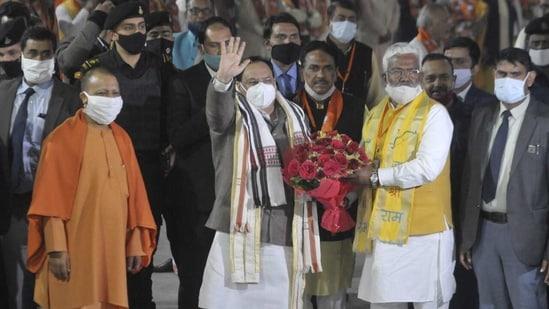 Bharatiya Janata Party national president JP Nadda is on a two-day visit to Uttar Pradesh. UP chief minister Yogi Adityanath and state unit chief Swatantra Dev Singh received him in Lucknow on Thursday. (Deepak Gupta/HT PHOTO).