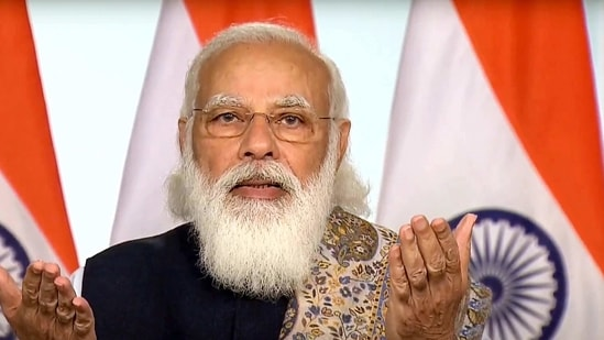 Prime Minister Narendra Modi virtually launches pan-India rollout of COVID-19 vaccination drive, in New Delhi, Saturday, Jan. 16, 2021. (PTI Photo)