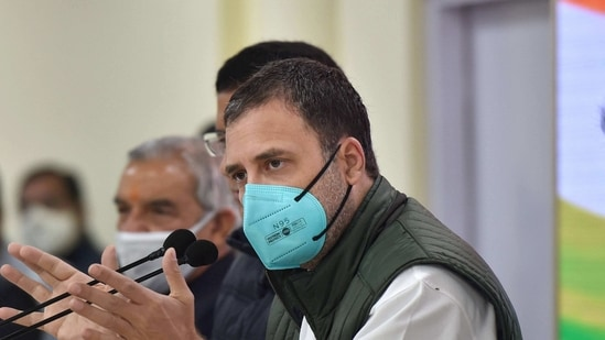 New Delhi: Congress leader Rahul Gandhi addresses a press conference on farmers' agitation against Centre's farm reform laws, at party HQ in New Delhi, Tuesday, Jan. 19, 2021. (PTI Photo/Manvender Vashist)(PTI)