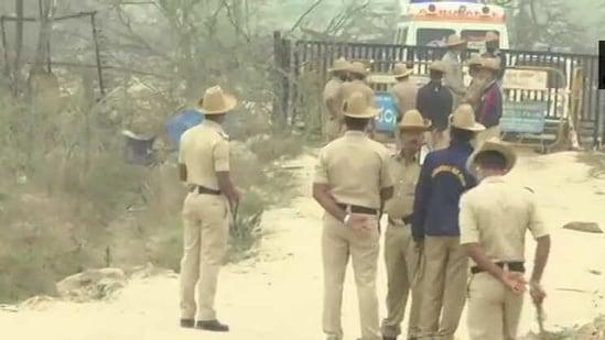 Police at the blast site in Karnataka's Shivamogga on Friday. (ANI Photo )