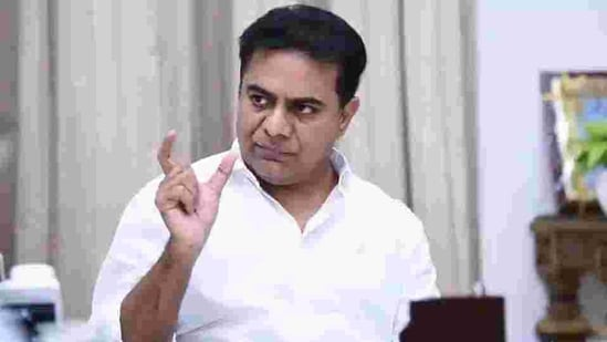 Unlike his father who is mostly confined to running the government from Pragati Bhavan, KTR has been extensively touring districts to inspect the implementation of government schemes and holding official meetings.(HT PHOTO.)