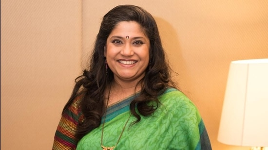 Renuka Shahane is working on a book, which is a tongue-in-cheek look at the life in the 80s and is writing two screenplays too. (Photo by Sarang Gupta/Hindustan Times) (Hindustan Times)