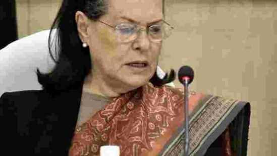 Sonia Gandhi at a Congress Working Committee ( CWC ) meeting(Sonu Mehta/HT FILE PHOTO)