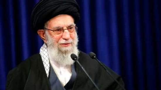 In this picture released by an official website of the office of the Iranian supreme leader, Supreme Leader Ayatollah Ali Khamenei addresses the nation in a televised speech in Tehran, Iran, Friday, Jan. 8, 2021. in Tehran, Iran. Khamenei called to ban the import of American and British vaccines, claiming they are not to be trusted. (Office of the Iranian Supreme Leader via AP)(AP)