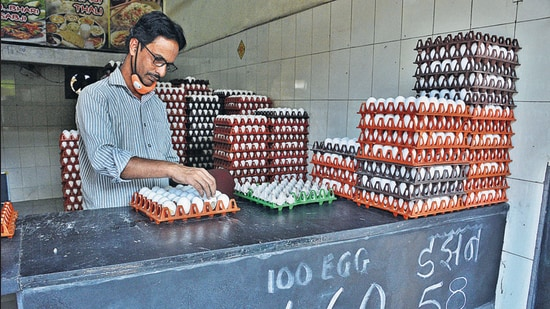 Prices of eggs have come down, hitting poultry sales in Thane district due to bird flu. (Praful Gangurde/HT photo)