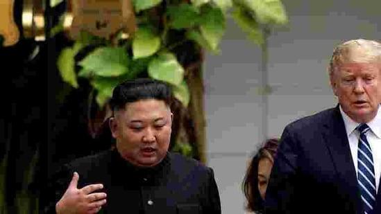 North Korea's leader Kim Jong Un and then-US president Donald Trump talk during the second North Korea-U.S. summit in Hanoi, Vietnam on February 28, 2019.(Reuters File Photo)