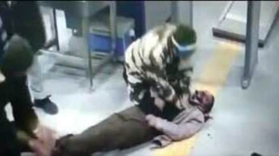 CCTV footage of the incident where a CISF official pressed into action after a passenger fell down at Dabri More Metro station, New Delhi. (Photo: @CISFHQrs)