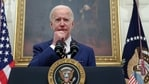 US President Joe Biden speaks in the State Dining Room at the White House in Washington, US.(Reuters)