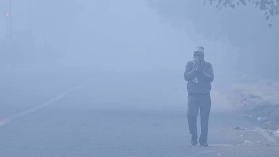 Delhi recorded a maximum temperature of 20.4 degrees C, 1 degree below normal ,and minimum temperature of 8 degree C on Saturday.(Sanchit Khanna / HT Photo)