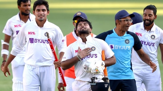 Rishabh Pant (centre) and Shubman Gill celebrate moments after India's victory.(HT_PRINT)