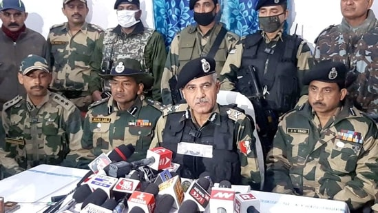 NS Jamwal, IG- BSF, Jammu addresses media after a tunnel detected by Border Security Force (BSF) in Pansar area along International Border in Kathuaon, in Jammu on Saturday.