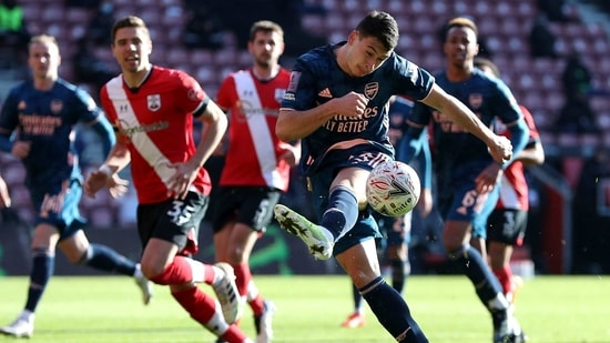 Arsenal's Gabriel Martinelli shoots towards goal, during the FA Cup fourth round soccer match between Southampton and Arsenal, at St. Mary's Stadium, in Southampton, England, Saturday Jan. 23, 2021.(AP)