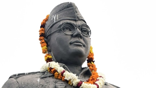 A statue of Indian nationalist leader Netaji Subhash Chandra Bose is pictured with a garland, as supporters celebrated his 125th birth anniversary, in Amritsar.(AP)