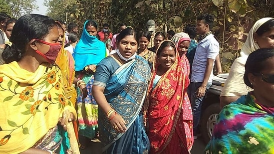 Basanti Hembram said she had not been forced to walk by the villagers.(HT Photo)
