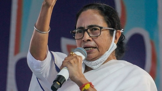 West Bengal Chief Minister Mamata Banerjee addresses a public meeting. (PTI Photo)