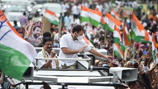 Congress leader Rahul Gandhi greets party workers in Tamil Nadu's Coimbatore on Saturday. (PTI)