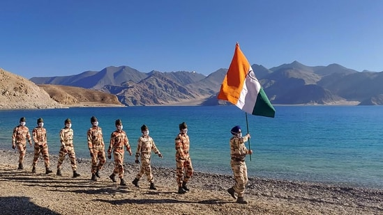 ITBP personnel on the banks of Pangong Tso, in Ladakh(PTI Photo)