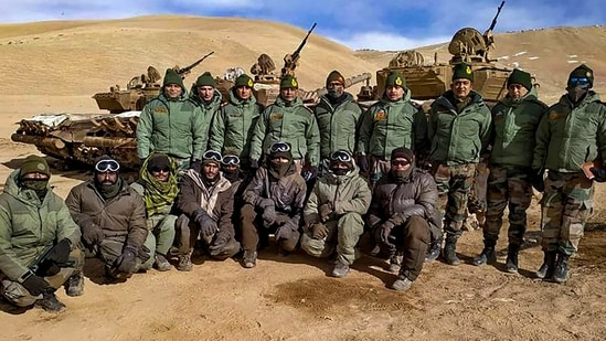 Indian and Chinese troops have been locked in an impasse all along the LAC in East Ladakh for the past eight months. The two sides have held eight rounds of talks, but not been able to arrive at a workable mechanism for de-escalation and disengagement.(PTI Photo)