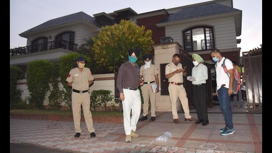 At least 17 shots were fired outside the house of hotelier and businessman Rakesh Singla in Sector 33, Chandigarh, on May 31 last year. (HT FIle Photo)
