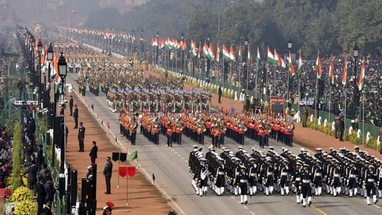 Naval Marching contingent, followed by other contingents during the Republic Day parade, at Rajpath, in New Delhi.(Sonu Mehta/HT PHOTO)