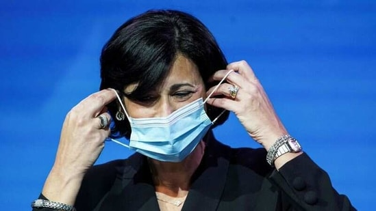 Dr Rochelle Walensky removes her mask to speak as Biden announces nominees and appointees to serve on his health and coronavirus response teams.(File Photo / REUTERS)