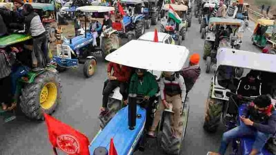 Farmers set to participate in a tractor rally to protest against the newly passed farm laws, in New Delhi. (Reuters File Photo )