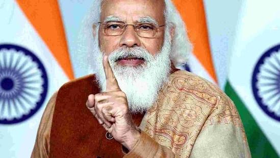 Prime Minister Narendra Modi during a video conference in New Delhi.(ANI)