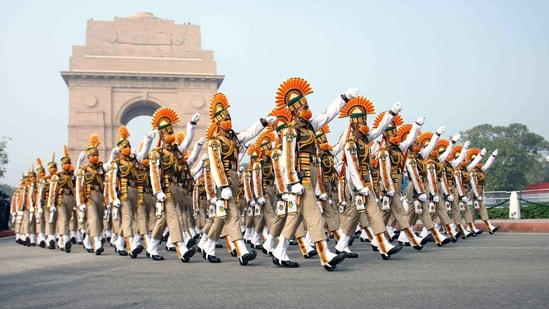 ITBP personnel during the full dress rehearsal for the upcoming Republic Day Parade, in New Delhi on Saturday.