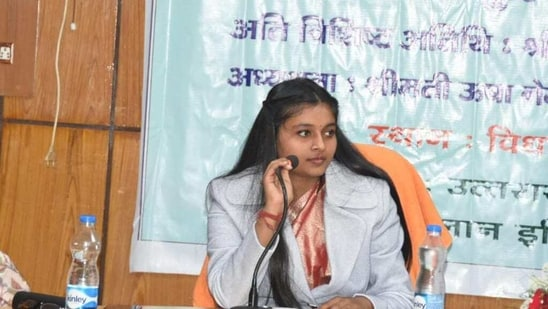 Shrishti Goswami who assumed the charge of CM Uttarakhand for one day on Sunday, interacting with officers in Dehradun.(HT photo)