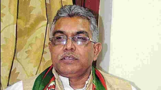 Switching political allegiance doesn't always guarantee leadership positions, Bengal BJP chief Dilip Ghosh said.(Prateek Choudhury/Hindustan Times File Photo)