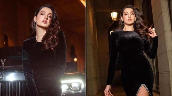 Nora Fatehi in black velvet dress(Instagram/norafatehi)