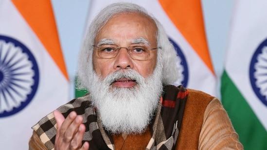 Prime Minister Narendra Modi during a video conference in New Delhi. (PTI)