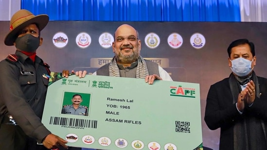 Union Home Minister Amit Shah launches 'Ayushman scheme' for personnel of the Central Armed Police Forces (CAPF), in Guwahati, (PTI)