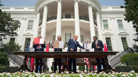 President Donald Trump with Israeli Prime Minister Benjamin Netanyahu, and UAE Foreign Minister Abdullah bin Zayed al-Nahyan, during the Abraham Accords signing ceremony.(AP)