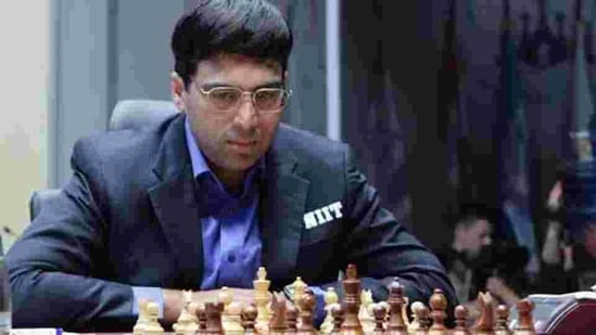 World chess champion Viswanathan Anand of India at the FIDE World Chess Championship in Moscow, Russia.