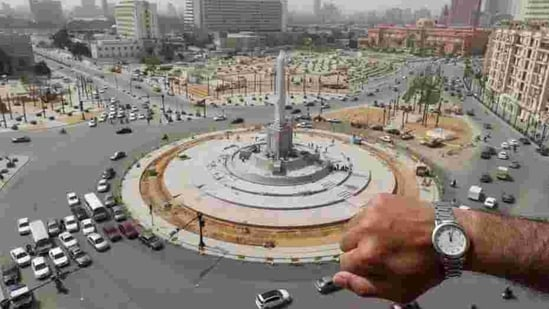 A far cry from the images of the 2011 Arab Spring and 2013 overthrow of the Morsi government-- this view at noon in front of Tahrir Square, in Cairo, Egypt.(REUTERS)