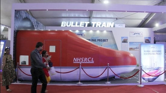 NHSRCL displays a replica of the bullet train during the Magnetic Maharashtra summit at BKC in 2018. (Pramod Thakur/HT Photo)
