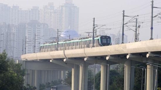 An Aqua Line metro train at Sector 51 Metro Station. (Sunil Ghosh / Hindustan Times)