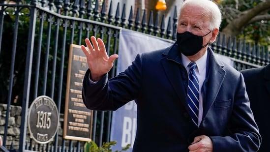 US President Joe Biden departs Holy Trinity Catholic Church on the first Sunday as the US President in Washington. (Reuters Photo )