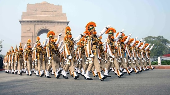 ITBP personnel during the full dress rehearsal for the upcoming Republic Day Parade, in New Delhi. (ANI)