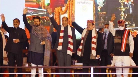 BJP state chief Suresh Kashyap, Union minister of state for finance Anurag Thakur,chief minister Jai Ram Thakur, BJP national president JP Nadda, governor Bandaru Dattatreya during the statehood day event on the Ridge in Shimla on Monday. (Deepak Sansta / HT)