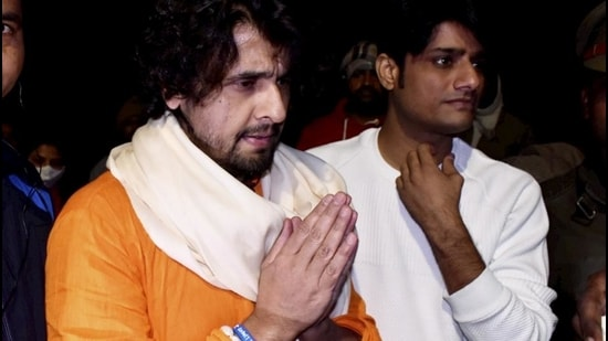 Singer Sonu Nigam in Ayodhya, Sunday. (PTI)