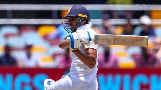 India's Shubman Gill plays a pulls shot during play on the final day of the fourth cricket test between India and Australia at the Gabba, Brisbane, Australia, Tuesday, Jan. 19, 2021. (AP Photo/Tertius Pickard)(AP)