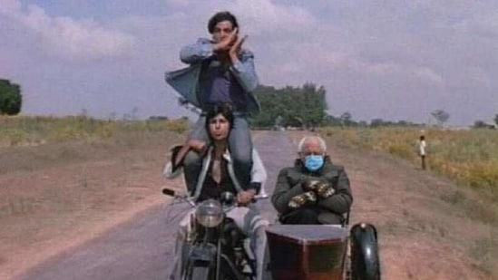 The image shows Bernie Sanders photoshopped onto the iconic scene from Sholay.(Twitter)