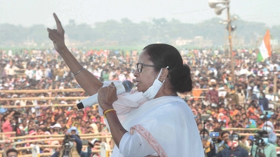 West Bengal Chief Minister Mamata Banerjee addresses a public rally in Hoogly, on Monday. (PTI)