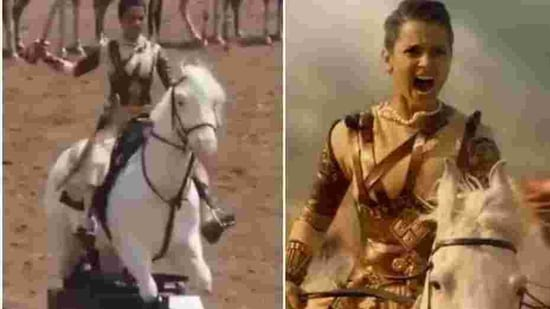 Kangana Ranaut riding a mechanical horse during Manikarnika, in real and on reel.(Instagram)