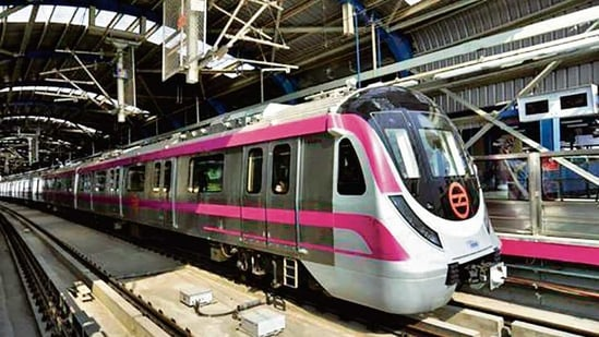 Delhi Metro's Magenta Line has five new trains that are missing which familiar feature?PTI(HT_PRINT)