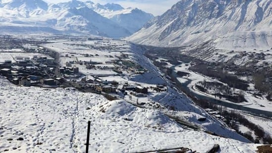 A view of snow covered area of Kargil in Ladakh.(Photo: ANI)